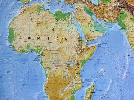 Африка – физикогеографска карта